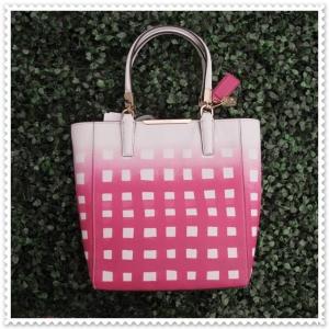 กระเป๋า COACH 30136 LICKT MADISON GINGHAM SAFFIANO MINI NS TOTE HANDBAG LI/WHITE/PINK RUBY