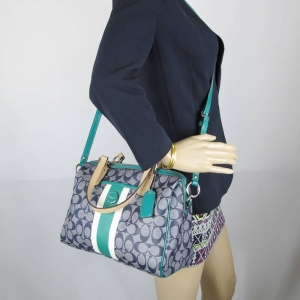 กระเป๋า COACH F24362 SVBHS SIGNATURE STRIPE CROSSBODY NAVY JADE SATCHEL HANDBAG