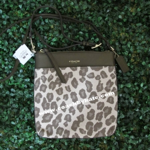 กระเป๋า Coach 51140 LICHT Madison Chestnut Ocelot Jacquard Leather Swingpack