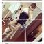 ++สินค้าพร้อมส่งค่ะ++ sport set เกาหลี เสื้อแขนสั้น สกรีน PEU ด้านหน้า เล่นสีผ้า+กางเกงขาสั้นแต่งขอบ มี 2 สีค่ะ – สีดำ/ขาว thumbnail 3