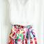 Angel Babie ++สินค้าพร้อมส่งค่ะ++ชุดแฟชั่นเซ็ทเกาหลี เสื้อคอ V แขนกุด ผ้าไหมเนื้อดีสวย+กระโปรงผ้าพิมพ์ลายยุโรปเก๋ – สีขาว thumbnail 8