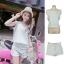 ++สินค้าพร้อมส่งค่ะ++ ชุดเซ็ทเกาหลี เสื้อแขนกุด คอกลม+กางเกงขาสั้น ซิบหน้าดีไซด์ชาย+ขอบลุ่ยๆ ผ้ายีนส์ – สียีนส์ซีด thumbnail 1
