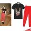 PreOrderไซส์ใหญ่ - เซตคู่เสื้อ-กางเกงขายาวแฟชั่นคนอ้วน เสื้อยืดพิมพ์ลายลิปสติกสีดำ กางเกงขายาวสีแดง thumbnail 2