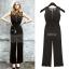OUREMU ++สินค้าพร้อมส่งค่ะ++Jumpsuit กางเกงขายาวเกาหลี คอกลม แขนกุด ตัวเสื้อตาข่าย ด้านหลังแฉกเกาะกระดุม ทรงสวย – สีดำ thumbnail 1