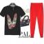 PreOrderไซส์ใหญ่ - เซตคู่เสื้อ-กางเกงขายาวแฟชั่นคนอ้วน เสื้อยืดพิมพ์ลายลิปสติกสีดำ กางเกงขายาวสีแดง thumbnail 1