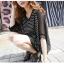Pre Order - เสื้อแฟชั่นเกาหลี ใส่สลาย ปลายแขนและชายเสื้อเย็บผ้าชีฟอง ตัวใหญ่เหมาะกับฤดูร้อน สี : สีขาว / สีดำ thumbnail 2