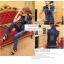 ++สินค้าพร้อมส่งค่ะ++ชุด Jumpsuit ยีนส์กางเกงขายาวเกาหลี แขนกุด คอปก ช่วงเอวตัดต่อด้วยซิบ – สี Dark Blue thumbnail 1