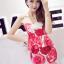 ++สินค้าพร้อมส่งค่ะ++ ชุดเซ็ทเกาหลี เสื้อสายเดี่ยว ผ้า cotton เนื้อหนาพิมพ์ลายดอกไม้+กระโปรงเข้ารูปช่วงสะโพก – สี Red Rose thumbnail 3