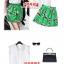 ++สินค้าพร้อมส่งค่ะ++ชุดเซ็ทเกาหลี เสื้อคอปกลูกไม้ แขนกุด ดีไซด์หวาน+กระโปรงพิมพ์ลายเนื้อดี – สีขาว+เขียว thumbnail 8