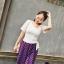Preorderไซส์เล็ก - เสื้อยืดสไตล์เกาหลี คอวี ผูกด้านข้าง สี : ขาว / ดำ thumbnail 2