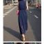 ++สินค้าพร้อมส่งค่ะ++ ชุดเดรสเกาหลี ยาว คอปก แขนกุด กระดุมหน้า จั้มเอวนิดๆ ช่วงกระโปรงพรีทยาว แต่งกระเป๋า 2 ข้าง - สี Deep Blue thumbnail 7
