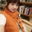 Ouremu ++สินค้าพร้อมส่งค่ะ++เสื้อ jacket เกาหลี แขนกุด กระดุมหน้า ไหมพรมซับในขนเฟอร์เก๋ ลาย Paul Frank – สีส้ม thumbnail 4