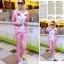 ++สินค้าพร้อมส่งค่ะ++Sport Set เกาหลี เสื้อ Jacket มี hood แขนยาว แต่ง Paul Frank และกางเกงขายาว สีชมพู thumbnail 4