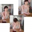 ++เสื้อผ้าเกาหลี++cherry dress*พร้อมส่ง*เสื้อผ้าแฟชั่น เสื้อชีฟอง ผ้า Cotton เสริมฟองน้ำที่ไหล่ แต่งระบายผ้าตาข่าย สีชมพู thumbnail 5