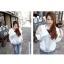++สินค้าพร้อมส่งค่ะ++ เสื้อ Jacket เกาหลี แขนยาว ผ้า cotton sweater+lace เนื้อดี มี Hood กระเป๋าลูกไม้สองข้างน่ารัก – สีเทา thumbnail 3