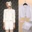 ViVi Party ++สินค้าพร้อมส่งค่ะ++ ชุดแฟชั่นเซ็ทเกาหลี เสื้อสูท แต่งริบบิ้นเก๋รอบตัว+กางเกงขาสั้น – สีขาว thumbnail 1