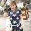 ++สินค้าพร้อมส่งค่ะ++ ชุดเซ็ทแฟชั่นเกาหลี เสื้อแขนสั้น ผ้า spandex พิมพ์ลายดาว + กางเกงขาสั้น+เช็มขัด 1 เส้น – สี Dark Blue thumbnail 2