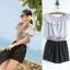 ++สินค้าพร้อมส่งค่ะ++ ชุดแฟชั่น Jumpsuit กางเกงขาสั้นเกาหลี คอเสื้อสไตล์เกาะไหล่ ผ้าฝ้านเยื้อดีพิมพ์ลายเส้น เอวจั้มแบบยางยืด – สีเทา thumbnail 1