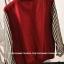 ++สินค้าพร้อมส่งค่ะ++เสื้อ jacket เกาหลี คอปก แขนยาว ผ้าฝ้าย+ผ้ายีนส์เนื้อดี แต่งปัก Rockey 52 เก๋ด้วยแขนลายริ้ว สไตล์ harajuku – สีแดงเลือดหมู thumbnail 8