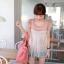 ++เสื้อผ้าเกาหลี++cherry dress*พร้อมส่ง*เสื้อผ้าแฟชั่น เสื้อชีฟอง ผ้า Cotton เสริมฟองน้ำที่ไหล่ แต่งระบายผ้าตาข่าย สีชมพู thumbnail 1