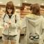 ++สินค้าพร้อมส่งค่ะ++ jacket เกาหลี แขนยาว มี hood มีซับในลายริ้วน่ารัก ผ้า cotton sweater เนื้อหนา สกรีนลายการ์ตูน - สีเทา thumbnail 1