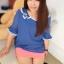 PreOrderไซส์ใหญ่ - เสื้อแฟชั่นเกาหลี ไซส์ใหญ่ คนอ้วน ผ้าชีฟอง แต่งระบายที่คอและแขน สี : ชมพู / น้ำเงิน thumbnail 1