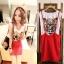 ++สินค้าพร้อมส่งค่ะ++ชุดเดรสเกาหลี 2 ชิ้น เสื้อแขนเต่อ+กระโปรงเอี้ยมสั้นน่ารัก ผ้า cotton เนื้อหนาค่ะ แบบน่ารัก – สีแดง thumbnail 1