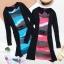 ++เสื้อผ้าไซส์ใหญ่++ Pre-Order Set 2 ชิ้น เดรสผ้าสแปนเด็กซ์ไซส์ใหญ่ ลายทางโทนสีชมพูเทา ตัดต่อผ้ายืดแขนยาวสีดำ+เข็มขัดไนล่อนตามแบบค่ะ thumbnail 6