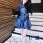 ++สินค้าพร้อมส่งค่ะ++ชุดเซ็ทเกาหลี เสื้อแขนยาว คอปกบัว ชุดหนัง แต่งกระดุมคู่ด้าหน้า+กระโปรงสั้นทรงบอลลูน น่ารัก – สีน้ำเงิน thumbnail 2