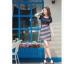 TOTO ++สินค้าพร้อมส่งค่ะ++ ชุดเดรสสั้น ดีไซด์กลาสี ผ้าสีพื้นตัดต่อลายริ้ว มีปักที่หน้าอก น่ารักมาก - สีน้ำเงิน thumbnail 3