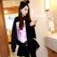 ++สินค้าพร้อมส่งค่ะ++Jacket เกาหลี คอกลม แขนยาว ผ้า Velvet เนื้อดีมากค่ะ สไตล์เสื้อ baseball แต่งด้วยผ้าสกรีนรูปดอกไม้ด้านหน้า – สีดำ thumbnail 7