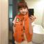 Ouremu ++สินค้าพร้อมส่งค่ะ++เสื้อ jacket เกาหลี แขนกุด กระดุมหน้า ไหมพรมซับในขนเฟอร์เก๋ ลาย Paul Frank – สีส้ม thumbnail 3