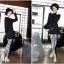 ++สินค้าพร้อมส่งค่ะ++กางเกงแฟชั่น legging ขายาวเกาหลี ผ้า Stretch large ยืดหยุ่นดีมาก ลายริ้ว สไตล์ harajuku – สีขาว/ดำ thumbnail 2