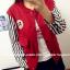 ++สินค้าพร้อมส่งค่ะ++เสื้อ jacket เกาหลี คอปก แขนยาว ผ้าฝ้าย+ผ้ายีนส์เนื้อดี แต่งปัก Rockey 52 เก๋ด้วยแขนลายริ้ว สไตล์ harajuku – สีแดงเลือดหมู thumbnail 4