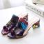 Pre Order - รองเท้าแฟชั่น ส้นสูง 1 นิ้ว หนัง PU สไตล์เรียบง่าย สี : สีขาว / สีม่วง thumbnail 9