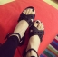 Pre Order - รองเท้าแฟชั่น สไตล์ยุโรปอเมริกา สายรัดสีดำ ติดหมุดตามสาย สีดำ thumbnail 7