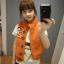 Ouremu ++สินค้าพร้อมส่งค่ะ++เสื้อ jacket เกาหลี แขนกุด กระดุมหน้า ไหมพรมซับในขนเฟอร์เก๋ ลาย Paul Frank – สีส้ม thumbnail 6