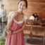 ++ สินค้าพร้อมส่งค่ะ++ชุดเดรสแฟชั่นเกาหลี 2 ชิ้น เสื้อแขนสั้น+เอี้ยมกระโปรง ลายตาราง - สีชมพูแดง thumbnail 3