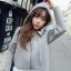 ++สินค้าพร้อมส่งค่ะ++ Jacket เกาหลี แขนยาว มี hood ผ้า cotton space เนื้อดี ดีไซด์สไตล์ Dongguk – สีเทา thumbnail 1