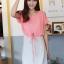 ++สินค้าพร้อมส่งค่ะ++ชุดเดรสแฟชั่นเกาหลี ชุดเดรส 2 ชั้น ชิ้นในเป็นเดรสแขนกุดตัดต่อชั้นนอกเสื้อโชว์ไหล่ รูดเอวได้ – สีชมพูอมส้ม thumbnail 1