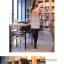Dowisi ++สินค้าพร้อมส่งค่ะ++ชุดเดรส แขนยาว สำหรับสาวทำงาน จับจีบช่วงไหล่ ตัดต่อช่วงเอวเหมือนใส่กระโปรงอีกตัว – สีชมพู (Size: M) thumbnail 3