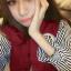 ++สินค้าพร้อมส่งค่ะ++เสื้อ jacket เกาหลี คอปก แขนยาว ผ้าฝ้าย+ผ้ายีนส์เนื้อดี แต่งปัก Rockey 52 เก๋ด้วยแขนลายริ้ว สไตล์ harajuku – สีแดงเลือดหมู thumbnail 2