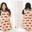 Pre Order - เดรสแฟชั่นเกาหลี คนอ้วน Big Size แขนสั้น พิมพ์ลายผ้าเป็นโบว์ สี : สีดำ / สีส้ม thumbnail 8