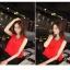 ++สินค้าพร้อมส่งค่ะ++ ชุดเซ็ทเกาหลี คอกลม แขนกุด ลำตัวกว้าง+กระโปรงเข้ารูปสวยเก๋ – สีแดง/ดำ thumbnail 4