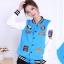 ++สินค้าพร้อมส่งค่ะ++Jacket เกาหลี แขนยาว ผ้า Polyester เนื้อดี สกรีนด้านหน้าและแขนสวยเก๋ กระเป๋าสองข้าง มี 3 สีค่ะ – สีฟ้า thumbnail 1