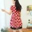 Qian Yi *Pre-order*เดรสไซส์ใหญ่ คอวี แต่งกุ๊นช่วงแขน ลายดอกไม้สีดำ ซับในด้วยผ้าลูกไม้่ - สีชมพู -สีน้ำเงิน thumbnail 3