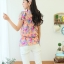 Qian Yi *Pre-order*เสื้อไซส์ใหญ่ แขนตุ๊กตา คอกลมแต่งลูกไม้ จํ้มเอว ลายดอกไม้สวยหวาน - สีชมพู สีเขียว thumbnail 4