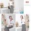 ++สินค้าพร้อมส่งค่ะ++ชุดเดรสเกาหลี แขนสั้น ผ้าสีพื้นติดต่อผ้าลายริ้ว เอวจั้มนิดๆ ปักดีไซด์กลาสีที่อก ใส่สบาย - สีขาว thumbnail 5