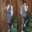 ++สินค้าพร้อมส่งค่ะ++Jumpsuit กางเกงขายาวเกาหลี คอ V ลึก แขนกุด ผ้า milk silk พิมพ์ลายจุดเนื้อดีมากค่ะ แต่งกระเป๋าข้าง – สี Dark Blue thumbnail 1