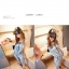 ++สินค้าพร้อมส่งค่ะ++ชุด Jumpsuit กางเกงขายาวเกาหลี ยีนส์ แขนกุด มี Hood พิมพ์อักษรหน้า+หลัง ซิบหน้า เอวรูดเข้าได้ น่ารัก – สี Blue Jeans thumbnail 2